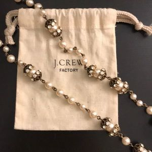 J. Crew Factory pearl and gold statement necklace